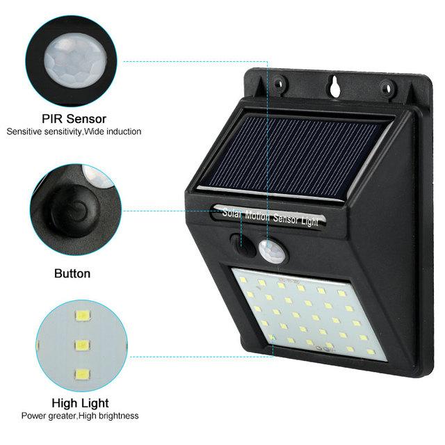 Rechargeable Solar Light 20 30 48 60 96 LED Waterproof PIR Motion Sensor Security Solar Lamp Outdoor Emergency Wall Light 2