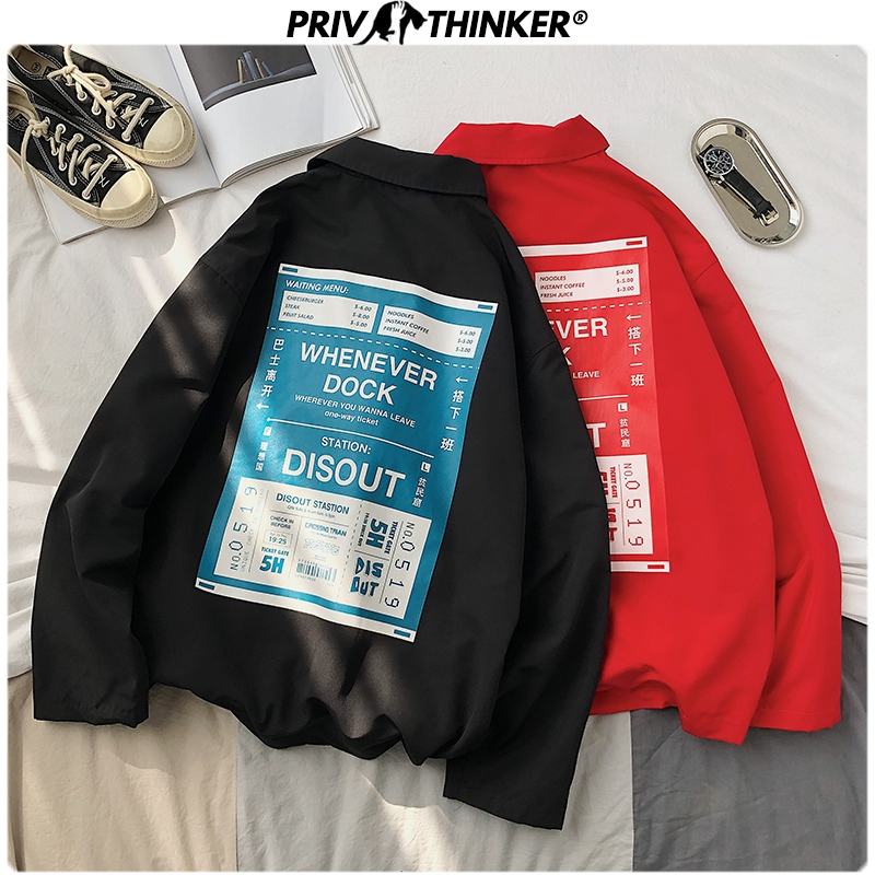 Privathinker Men Spring Print Turn-sown Collar Jackets 2020 Mens Loose Korean Jacket Male Streetwear Fashion Loose Clothes Coat
