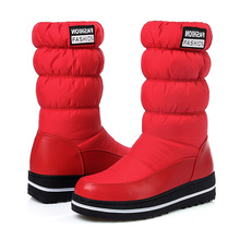 LAKESHI Waterproof Mid-calf Boots Warm Winter for Women Snow Platform Shoes Fashion Ladies Booties