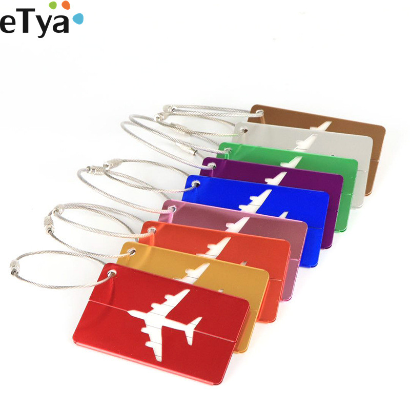 ETya 1PCS Aluminium Alloy Luggage Tags Women Men Baggage  Suitcase Address Label Holder Tags Travel Accessories