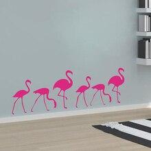 Cute 6 Pcs Flamingo Poster Mural Funny Beauty Animal Wall Sticker Kids Boys Girls Bedroom Decoration Vinyl Art Decaks W627