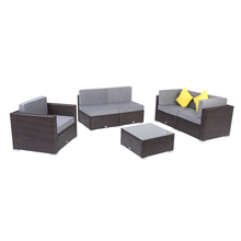 6 Pieces Patio PE Wicker Rattan Sofa Set