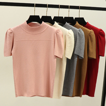 2020 Summer Knitted Tops Spring Puff Short Sleeeve Pullover Women High Elasticity Solid T shirt Tee