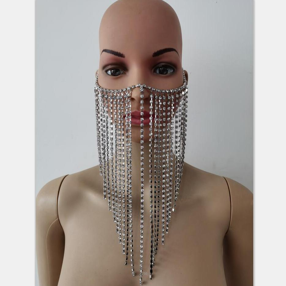 New Fashion RJH004 Silver Rhinestone Chains Face Mask Layers Custome Head Chains Jewelry Costume Jewelry
