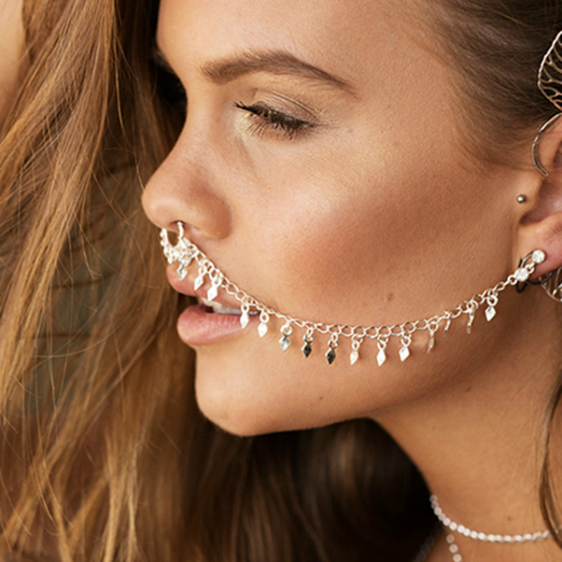 Nose Ring Chain Hanging Disc Hoop Ear Chain Nose Ring Tribal