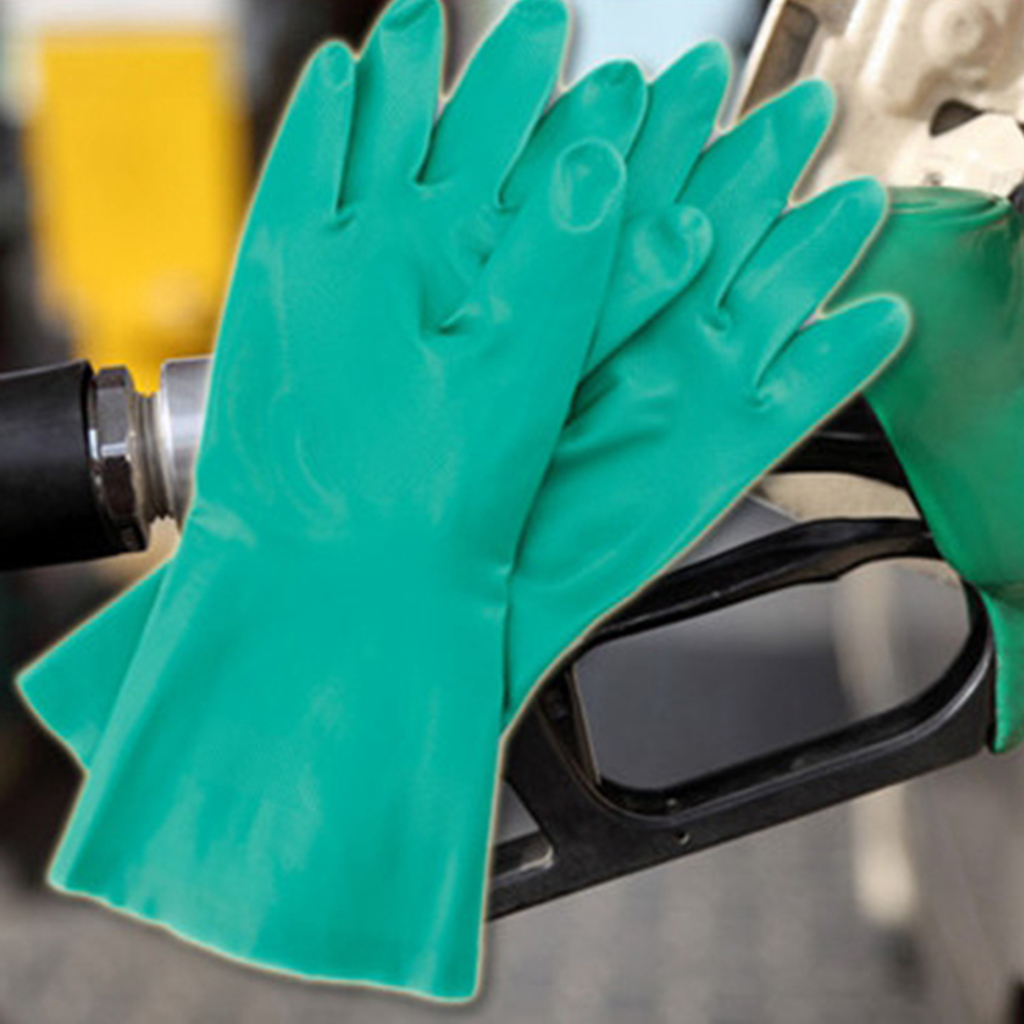 Rubber Work Gloves Solvent Resistant Nitrile Rubber Gloves 1 Pair 30x15x2cm