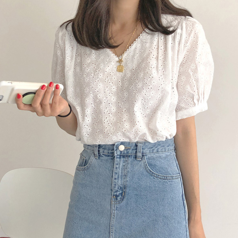 New Spring Vintage White Shirt Female Oversize Tops Women Short Sleeve Girls Blouse Summer Plus Size Women Blouses Femme Blusas