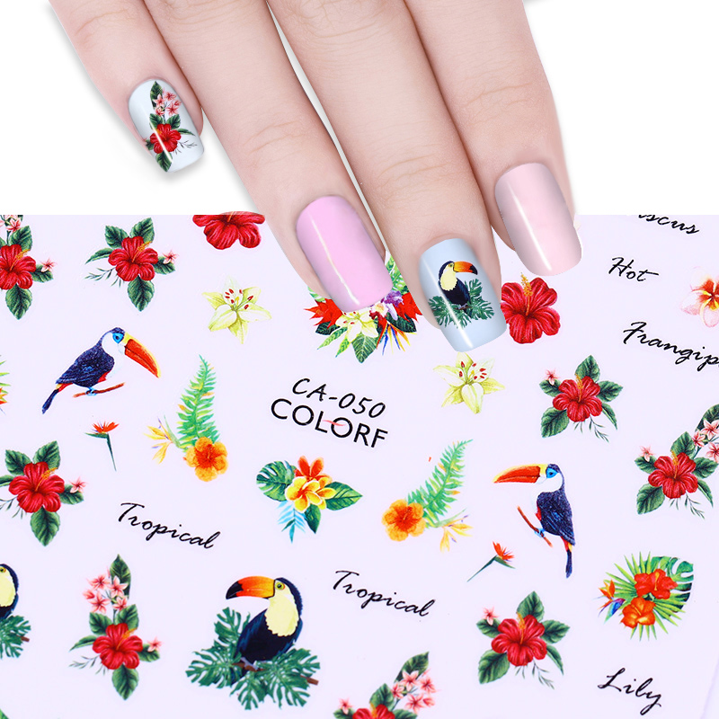 Image 5 - 3D Nail Art Stickers Decals Nail Decorations Adhesive Transfer Sticker Cute Red Fly Birds Nail Art Accessories-in Stickers & Decals from Beauty & Health