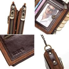 Rfid  Genuine Leather Wallet Men   Card Holder Coin Purse Small Male Money Bag Mini Chain