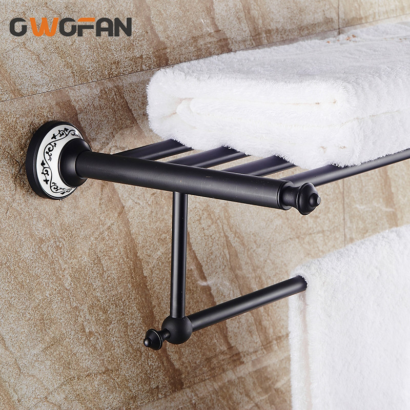 2019 New Bathroom Shelves Black Towel Racks Classic Wall Mount Bathroom Accessories Ceramic Home Decorations Wholesale SY-089R