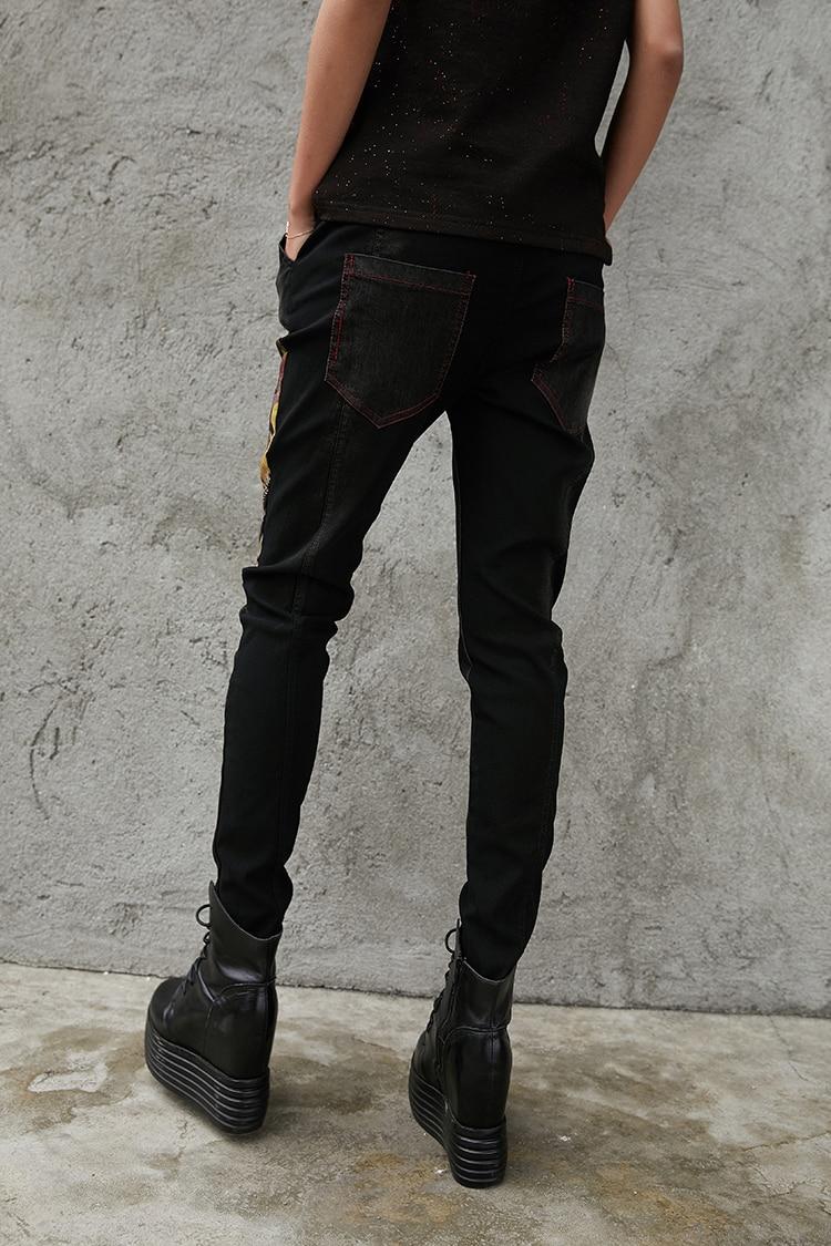 本日の割引 3d 最大ルル春のファッションヴィンテージ弾性ハーレムパンツ韓国レディースブラックスキニーリッピング 女性デニムズボン 26