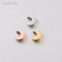 X-ROYAL 10Pcs/lot Handmade DIY Loose Beads Stainless Steel Moon Shape Bracelet Charms Necklace Pendant Spacer 1.8mm Hole
