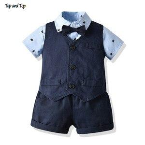 Baby Boy chrzest strój noworodka Gentleman ślub Bowtie Tuxedo ubrania formalnym garnitur niemowląt lato odzież zestaw urodziny prezent