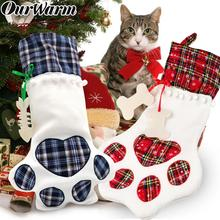 OurWarm Christmas Socks Red Blue Plaid Dogs Paw Stockings Sacks Hanging New Year Kids Gifts Christmas Party Decoration 46x28cm цена