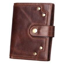 Western Genuine Leather Rivet Business Men Wallet Vintage Detachable Driver License Cow Thread Hasp Coin Purse