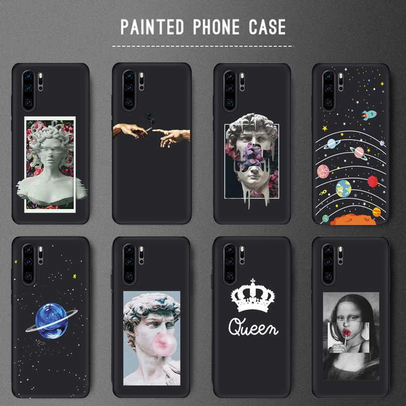 Senyum Anjing Husky Dicat untuk Huawei P20 Lite P20 Pro Kehormatan 10 Kasus Ruang Planet Bintang Lembut TPU Cover untuk Huawei P30 Lite Case