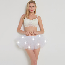 New Skirts Womens LED Adult Ballet Luminous Skirt Mesh Tutu 5 Layer Dance with Lights Jupe Femme Women Clothing