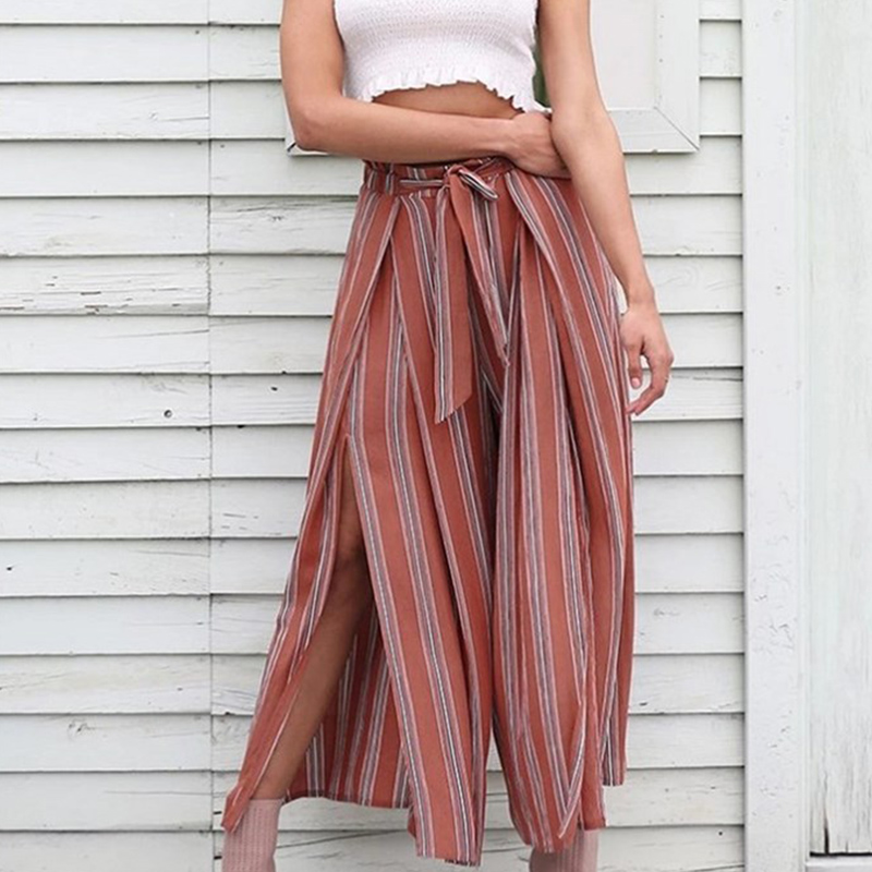 Paris Girl Split Striped Lady   Wide     Leg     Pant   Women Summer Beach High Waist Trousers Chic Streetwear Sash Casual   Pant   CaprisFemale
