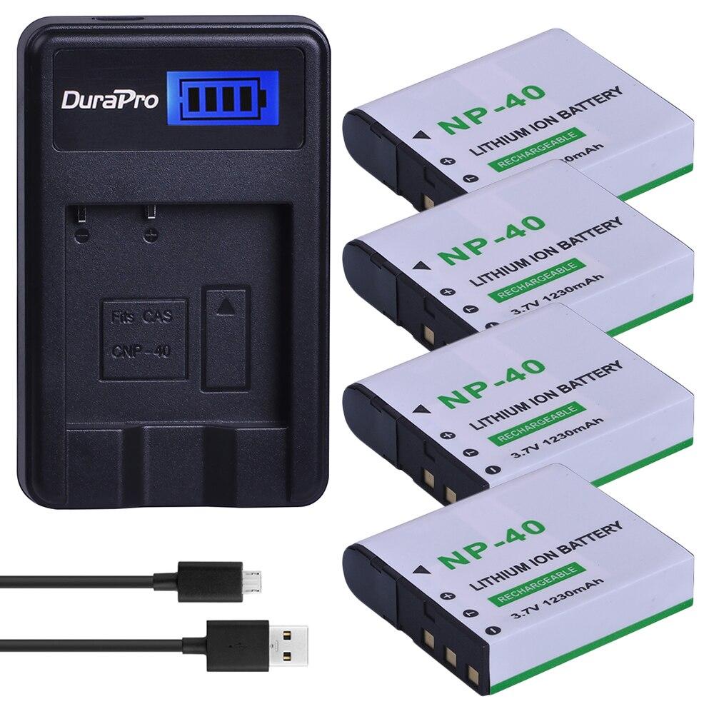 4 Uds NP-40 NP 40 NP40 Cámara recargable de la batería + cargador USB para Casio EX-Z400 FC100 FC150 FC160S P505 P600 P700 Z300 Z600 EX