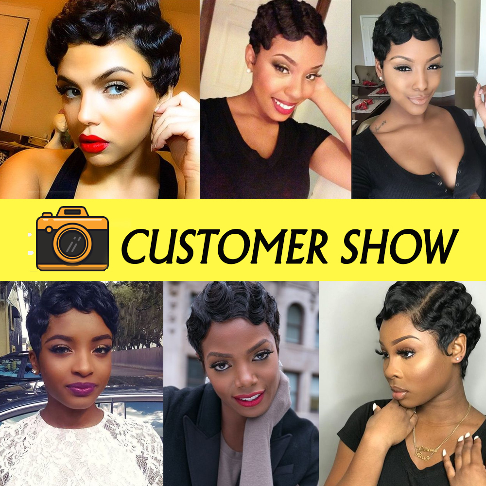 Wignee Pixie Cut Human Hair Wig For Women Curly Short Wig Finger Wave Wig Remy Curly Wig Hair Bob Hair Wig Natural Black Wig
