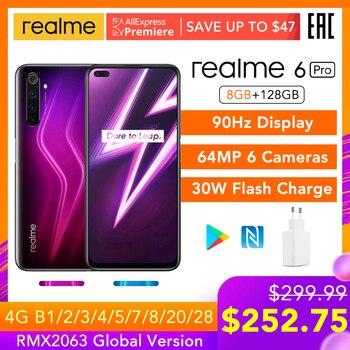 Перейти на Алиэкспресс и купить Realme 6 Pro 6pro 8 ГБ ОЗУ 128 Гб ПЗУ глобальная Версия Мобильный телефон Snapdragon 720G 30 Вт флеш-зарядка 64 мп камера EU вилка NFCellphone