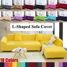L-shaped Stretch Slipcovers Sectional Elastic Sofa Seater Cover Protector Washable For Livingroom Couch Cover Decor Hot(China)