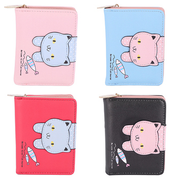 Fashion Women Cute Cat Wallet Small Zipper Girl Designed Pu Leather Coin Purse Female Card Holder Wallet
