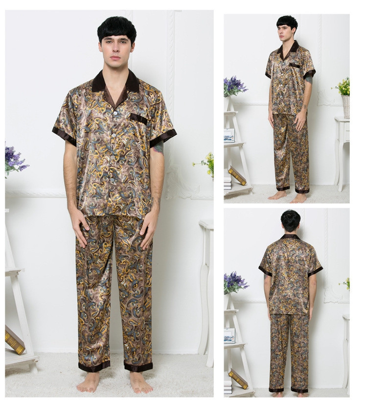 Pajama Set Men Chinese Style Kimono Hand-Made Painted Gown Bathrobe Sleepwear Bathrobe Men Short Sleeve Мужская пижама