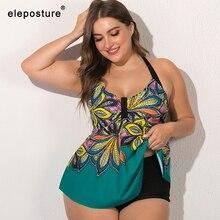 2020 جديد حجم كبير ملابس النساء Tankini المايوه عالية الخصر ملابس السباحة الأزهار طباعة لباس سباحة حجم كبير لباس سباحة 5XL