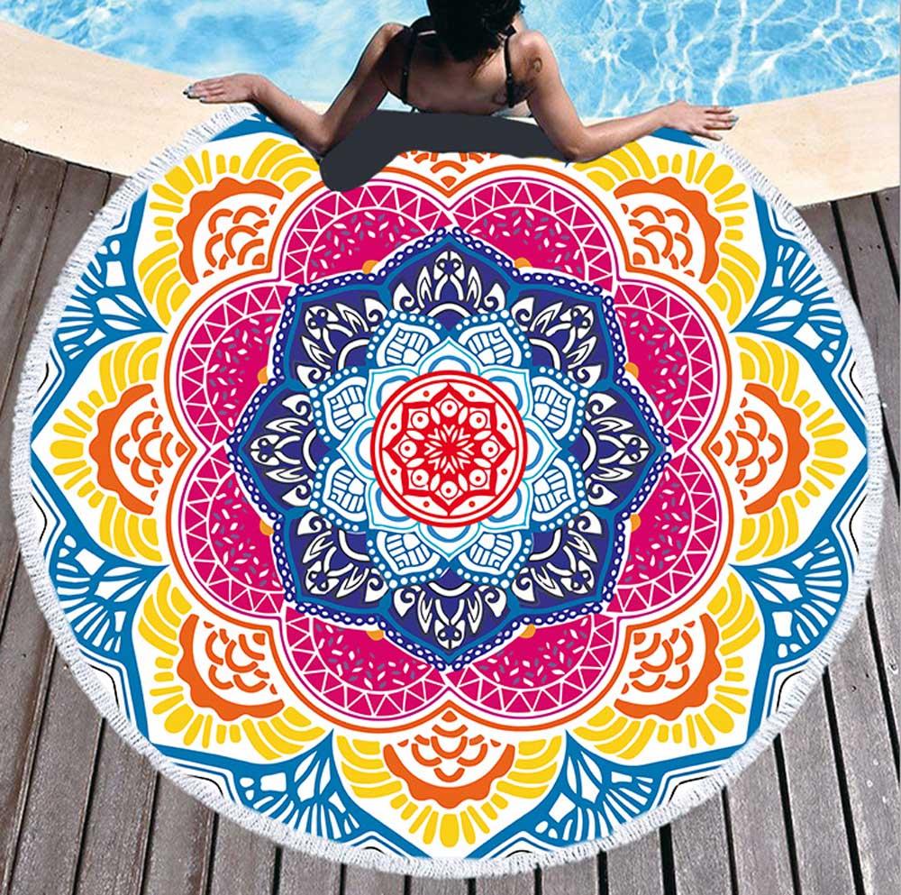 Chakra Round Bath Beach Towel Tassel Blanket Toalla Mandala Tapestry Sunblock Cover-Up Picnic Bath Towel Lotus Bohemian Yoga Mat