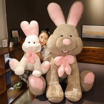 Cute Giant Costco American Big Rabbit Stuffed Bunny Doll Soft Animal Plush Toy America Rabbit with Long Ears Toys for Kids Gift image