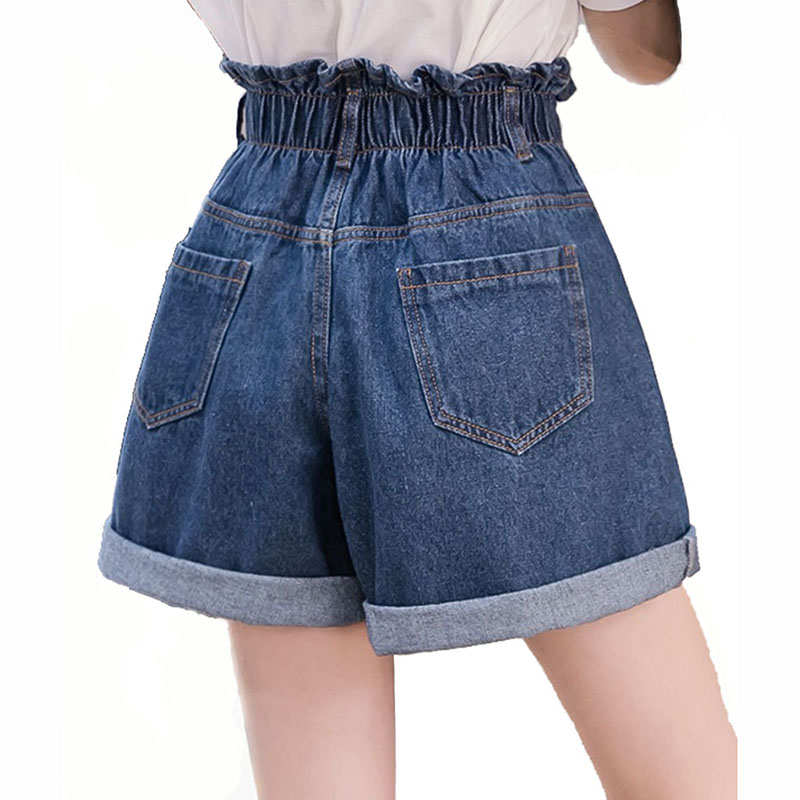 Women's Elastic High Waist Denim Shorts New Fashion Female Plus Size Blue Crimping Casual Loose Jeans