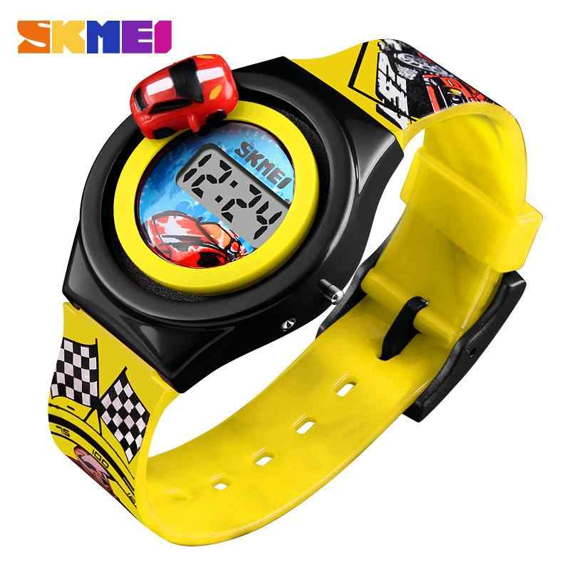SKMEI 1376 Fashion Digital Cartoon Car Children Watch Electronic Children Watch Creative Cartoon Student Watch Boy Child Girl