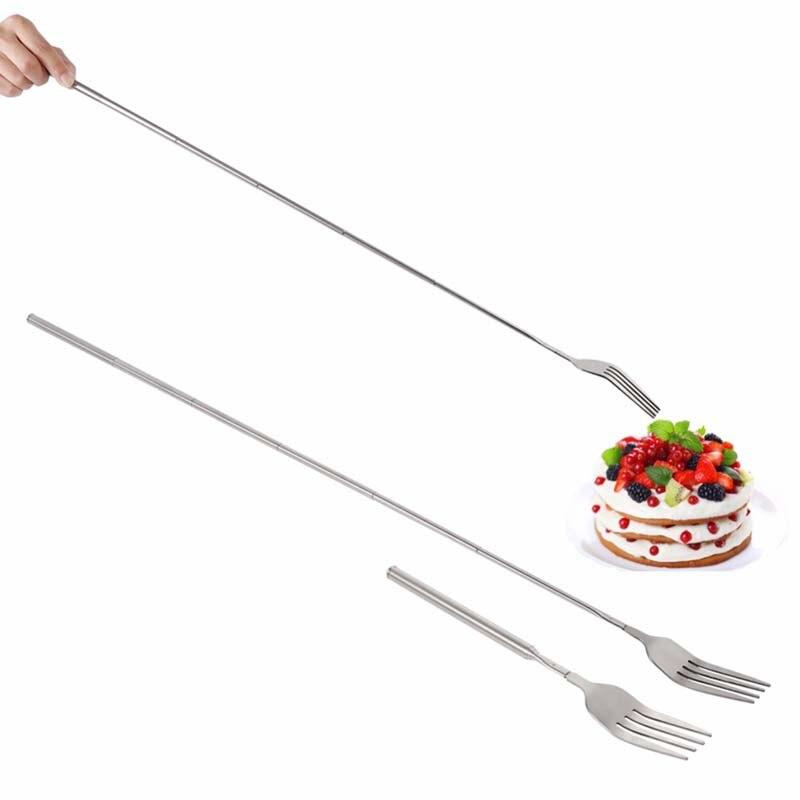 Серебряные телескопические столовые приборы из нержавеющей стали, длинные вилки для фруктов и десертов, вилка для барбекю и мяса, кухонные ...