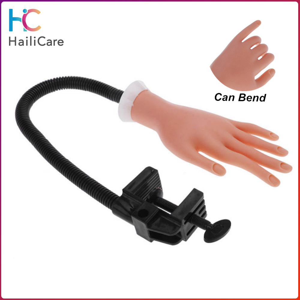 Flexible Nail Art Practice Hand Adjustable Nail Art Model Hands Silicone Prosthetic Diy Manicure Tool For Training With Arm