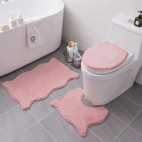 Fluffy Furs Bathroom Carpet Special-shaped Bath Mat Set Water Absorption Floor Mat Carpets For Toilet Rugs Doormat For Bathroom