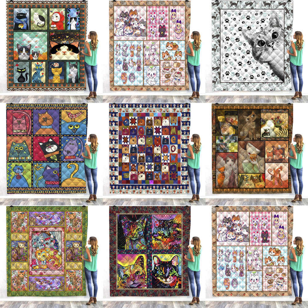 SOFTBATFY Cartoon Cat Niche Print All Season Quilt For Bed Soft Warm Blanket Cotton Quilt Dropshipping