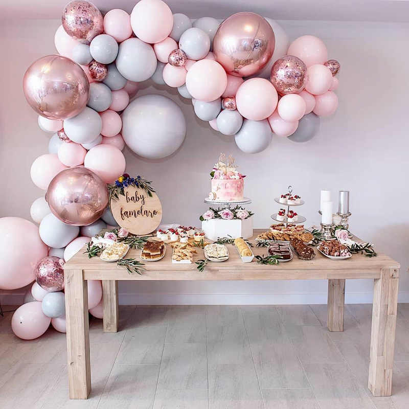 Macaron Balloons Arch Kit Pastel Grey Pink Balloons Garland Rose Gold Confetti Globos Wedding Party Decor Baby Shower Supplies