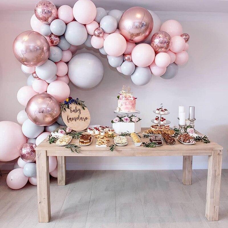 Macaron Balloons Arch Kit Pastel Grey Pink Balloons Garland Rose Gold Confetti Globos Wedding Party Decor Baby Shower Supplies(China)