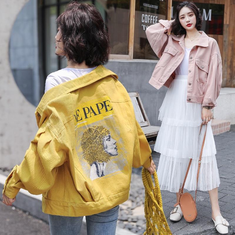 Fashion Candycolor Jeans Jacket 2019 Autumn Women's Graffiti Printing Long Sleeve Casual Loose Denim Jacket Student Basic Coat