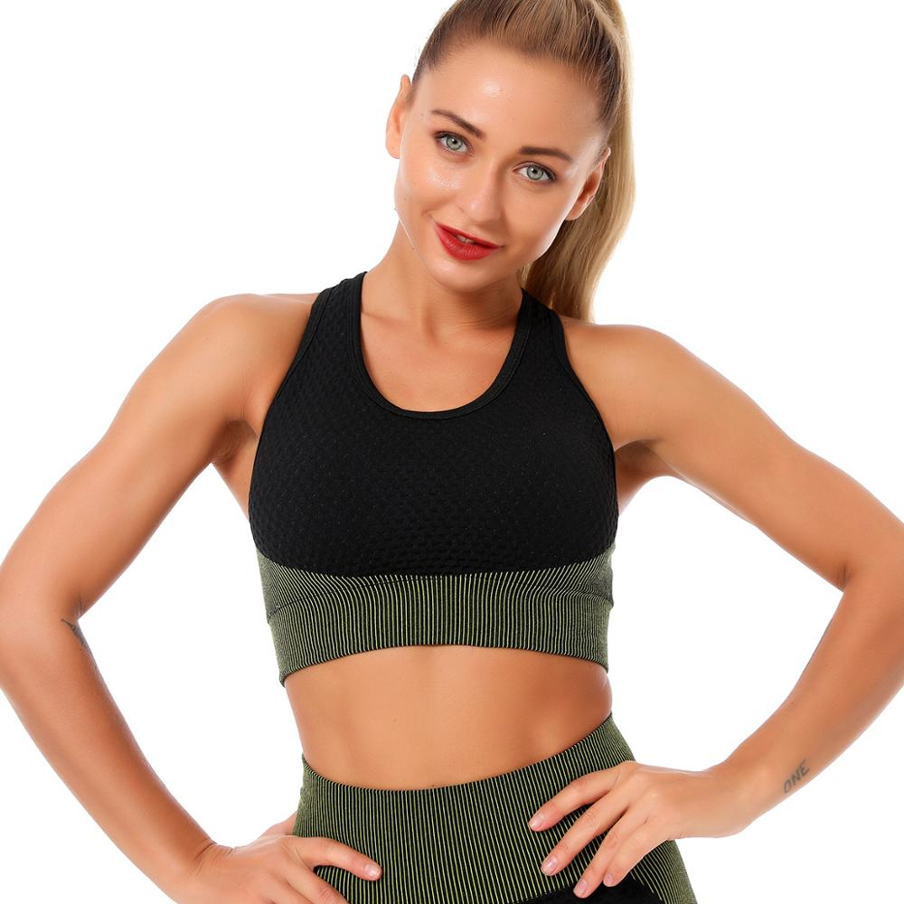 Seamless Sports Run Bra Woman Gym Fitness Dry Breathable Shockproof Cross Seamless Stitching Sports Underwear Yoga Sport Bra