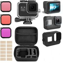 Accessory Kit for Gopro Hero 8 Black Waterproof Housing Case Tempered Glass Screen Protector Filter Kit For Go Pro accessories