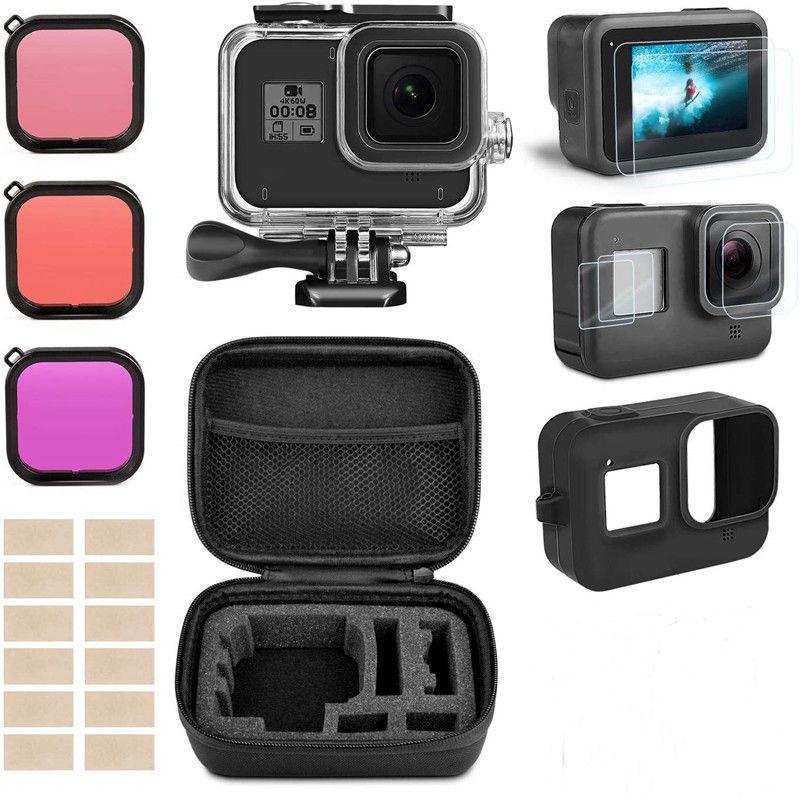 Kit d'accessoires pour Gopro Hero 8 boîtier boîtier étanche noir Kit de filtre de protection d'écran en verre trempé pour accessoires Go Pro