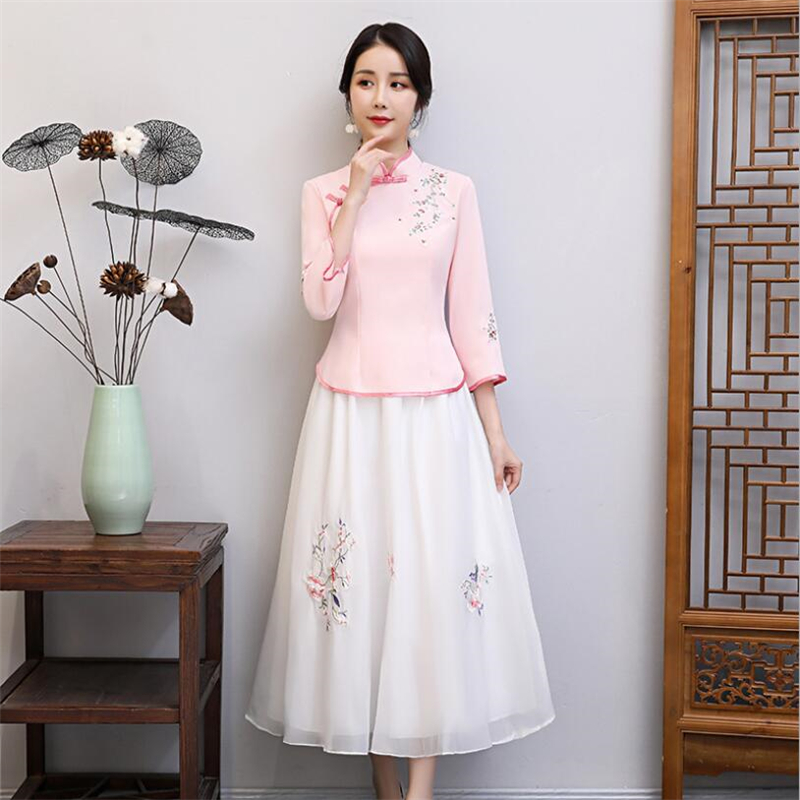 2019 Flower Embroidery Shirt+skirt Qipao Suit For Women Modern Chinese Clothing Traditional Collar Cheongsam Qipao Top+skirt Set
