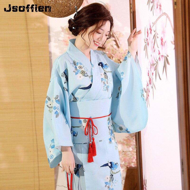 High Quality  National Trends Women Sexy Kimono Yukata with Obi Novelty Evening Dress Japanese Cosplay Costume Floral Bathrobe