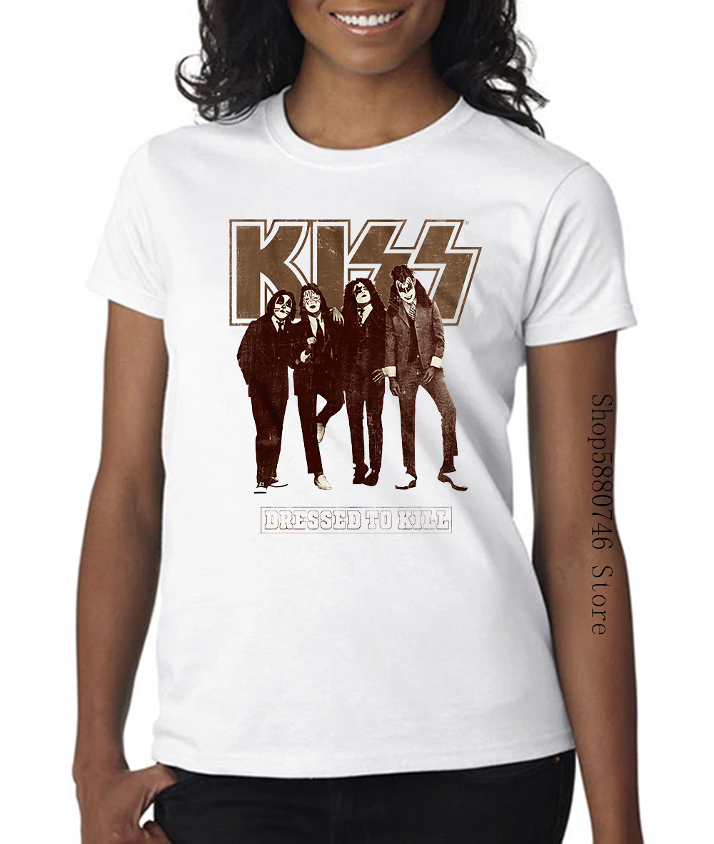 Kiss <font><b>Dressed</b></font> To Kill Mens <font><b>T</b></font> <font><b>Shirt</b></font> Suits <font><b>Rock</b></font> Band Nyc Album Concert Tour Merch image