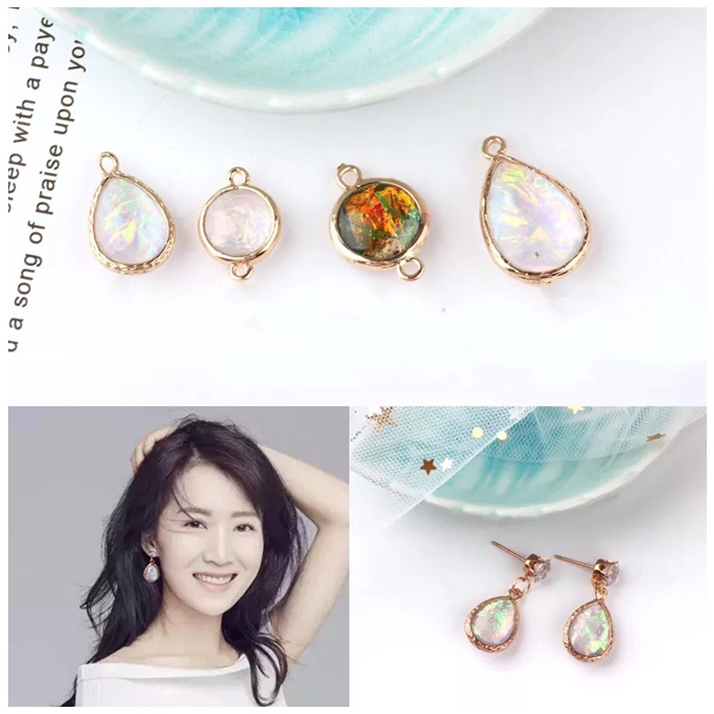 korea alloy mermaid water drop double hanging round pendant vintage earrings for women material diy jewelry accessories