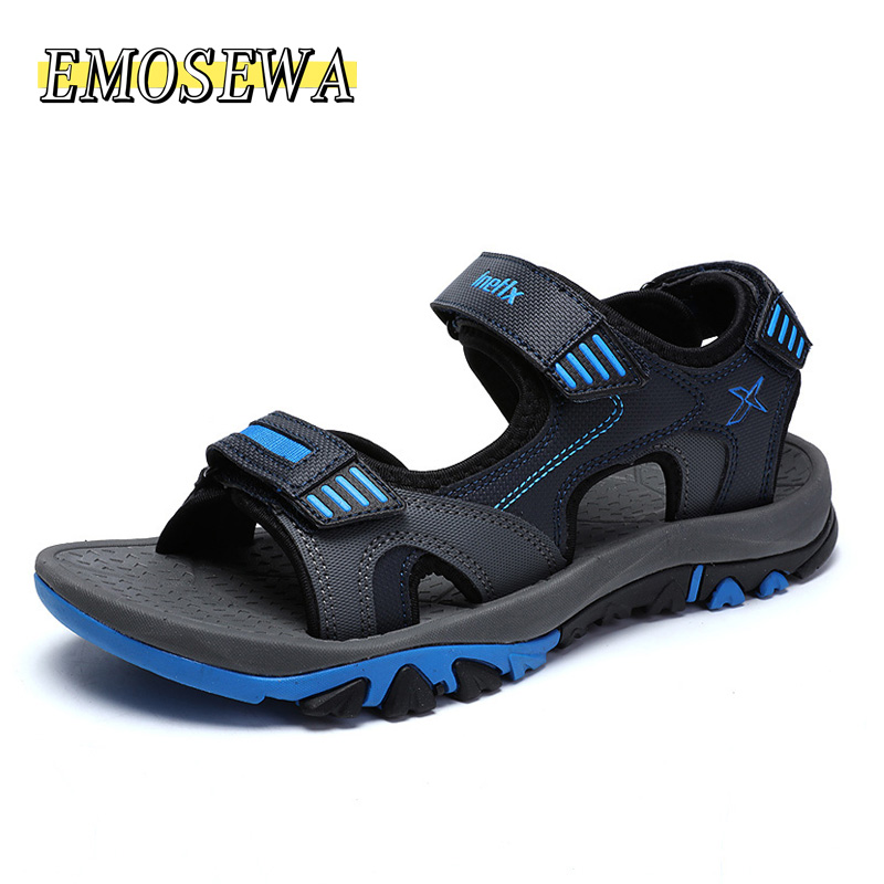 EMOSEWA Brand Summer Men Sandals Hook&loop Men's Summer Shoes 2018 Fashion Waterproof Casual Beach Shoes Big Size 40-45 Blue