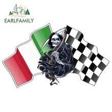 EARLFAMILY 13cm x 8cm naklejki samochodowe na śmierć ponury żniwiarz Design z włochami włoski Il Tricolore flaga motyw winylowa tablica naścienna