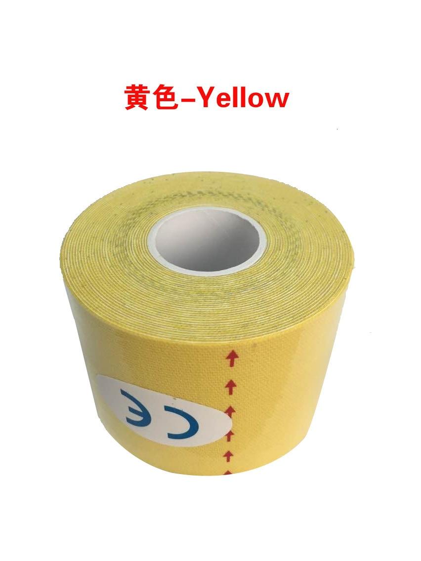 Кинезиологическая лента Атлетическая эластопласт спортивная водонепроницаемая лента медицинская терапия самоклеющаяся повязка на колено Защитная муфта для мышц L2147SPA - Цвет: Цвет: желтый
